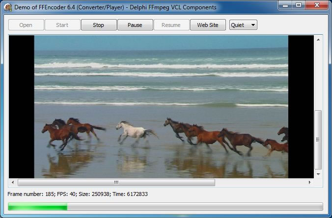 Screenshot of Video Convereter and Player Demo - Delphi FFmpeg VCL Components